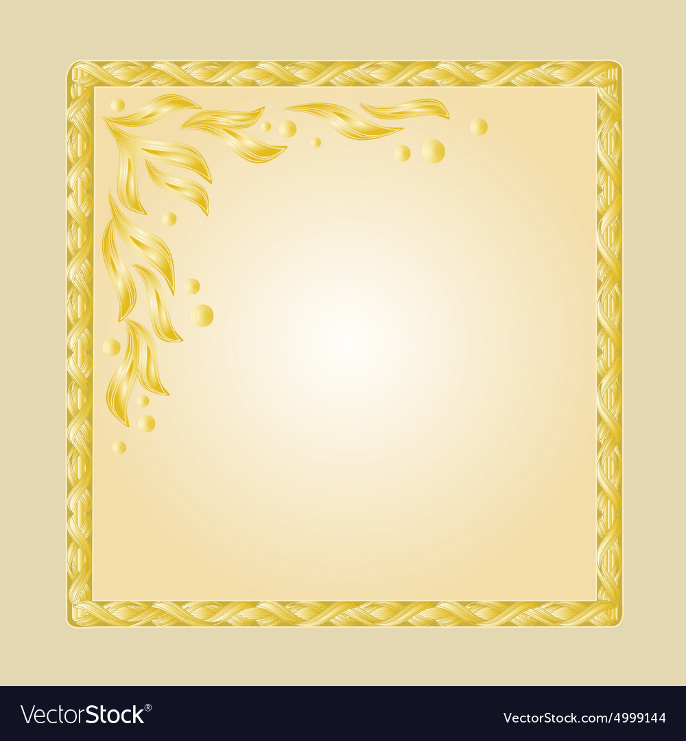 Golden frame with white gold leaves greeting card Vector Image