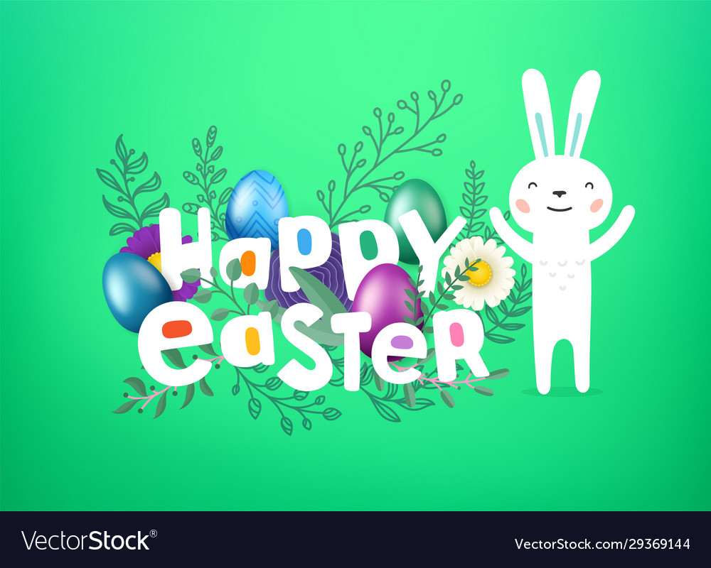 Happy easter cover greeting card with comic style
