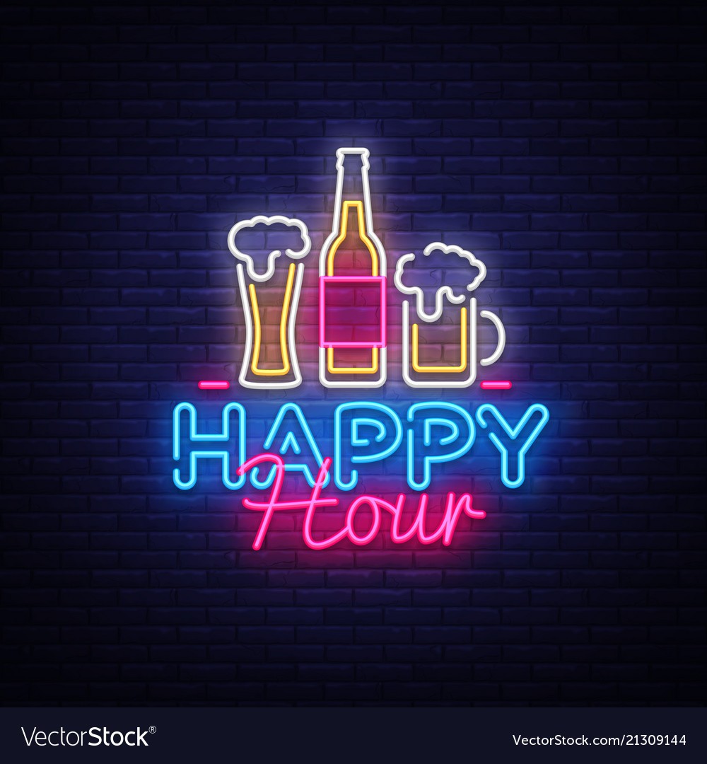 Happy hour neon sign happy hour design Royalty Free Vector