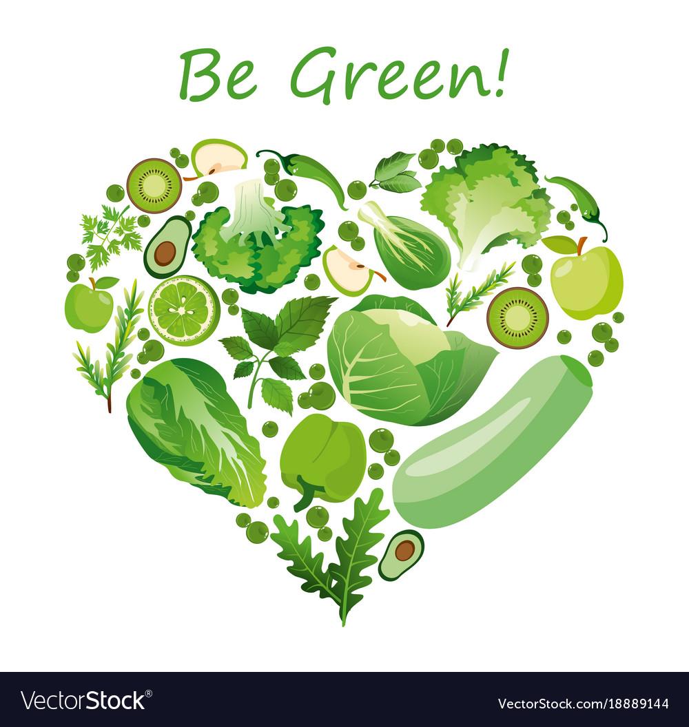 Heart shape of green fruits