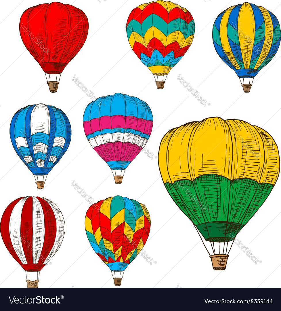 - Hot Air Balloons In Flight Colored Retro Sketches Vector Image