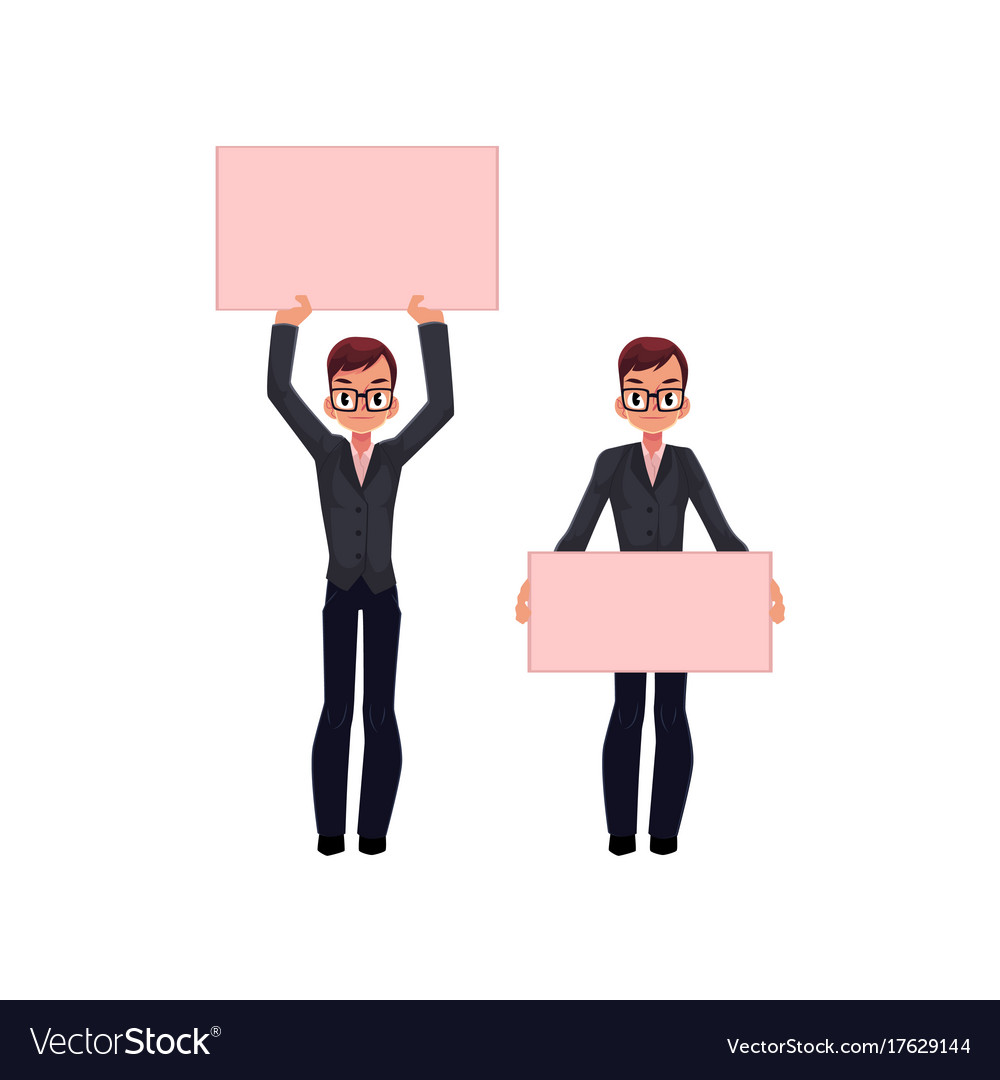 Office worker with empty pink banner set