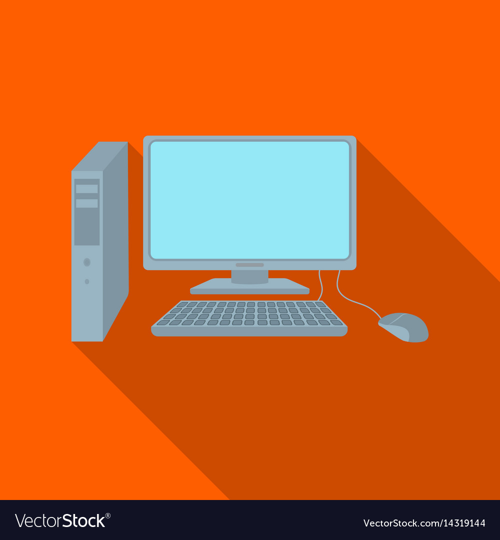 Personal computer icon in flat style isolated on