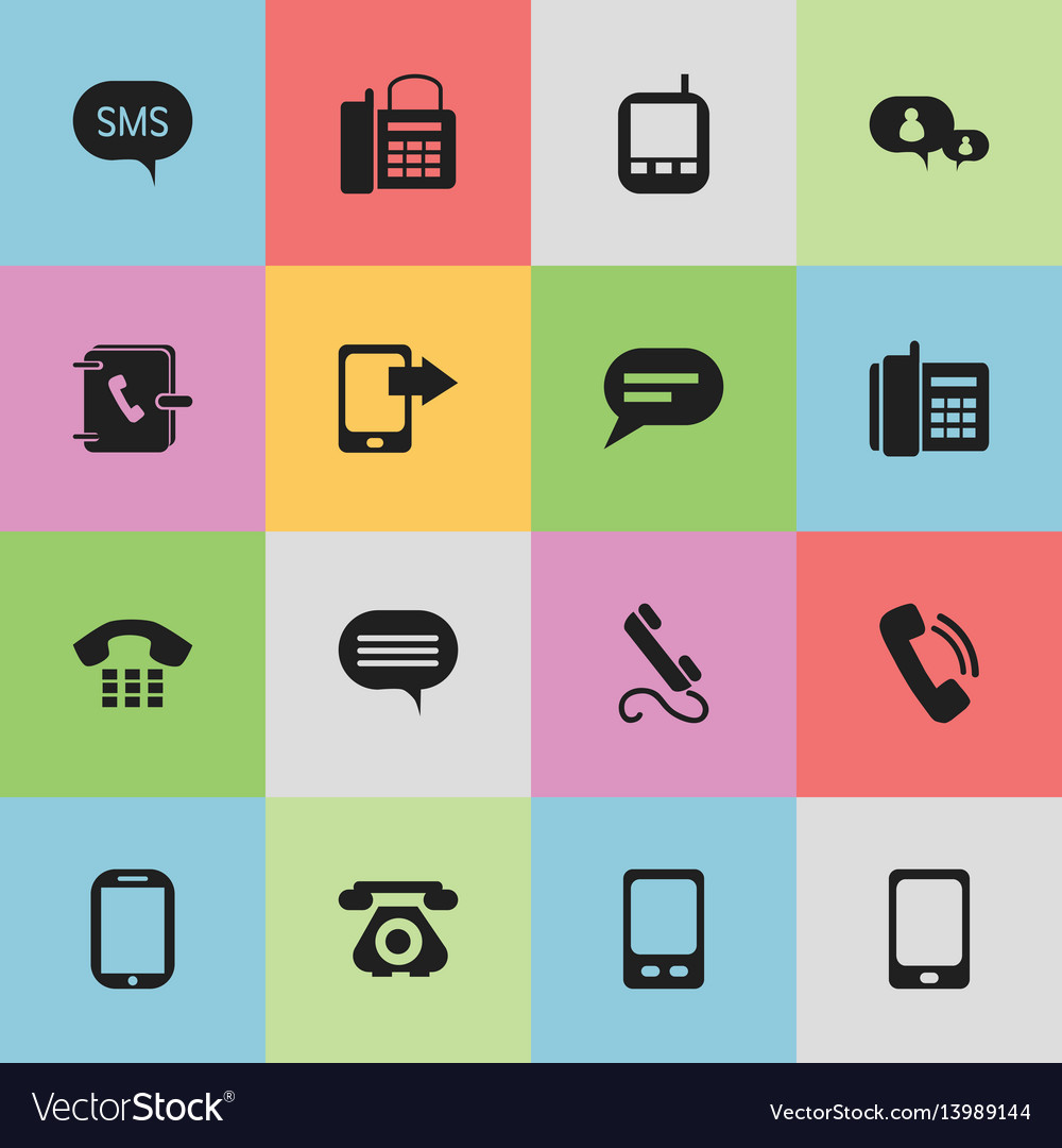 Set of 16 editable gadget icons includes symbols
