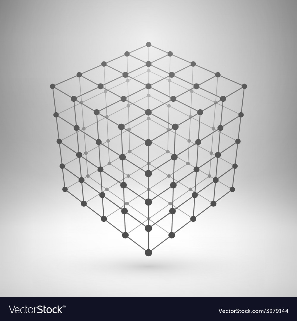Wireframe mesh polygonal cube vector image
