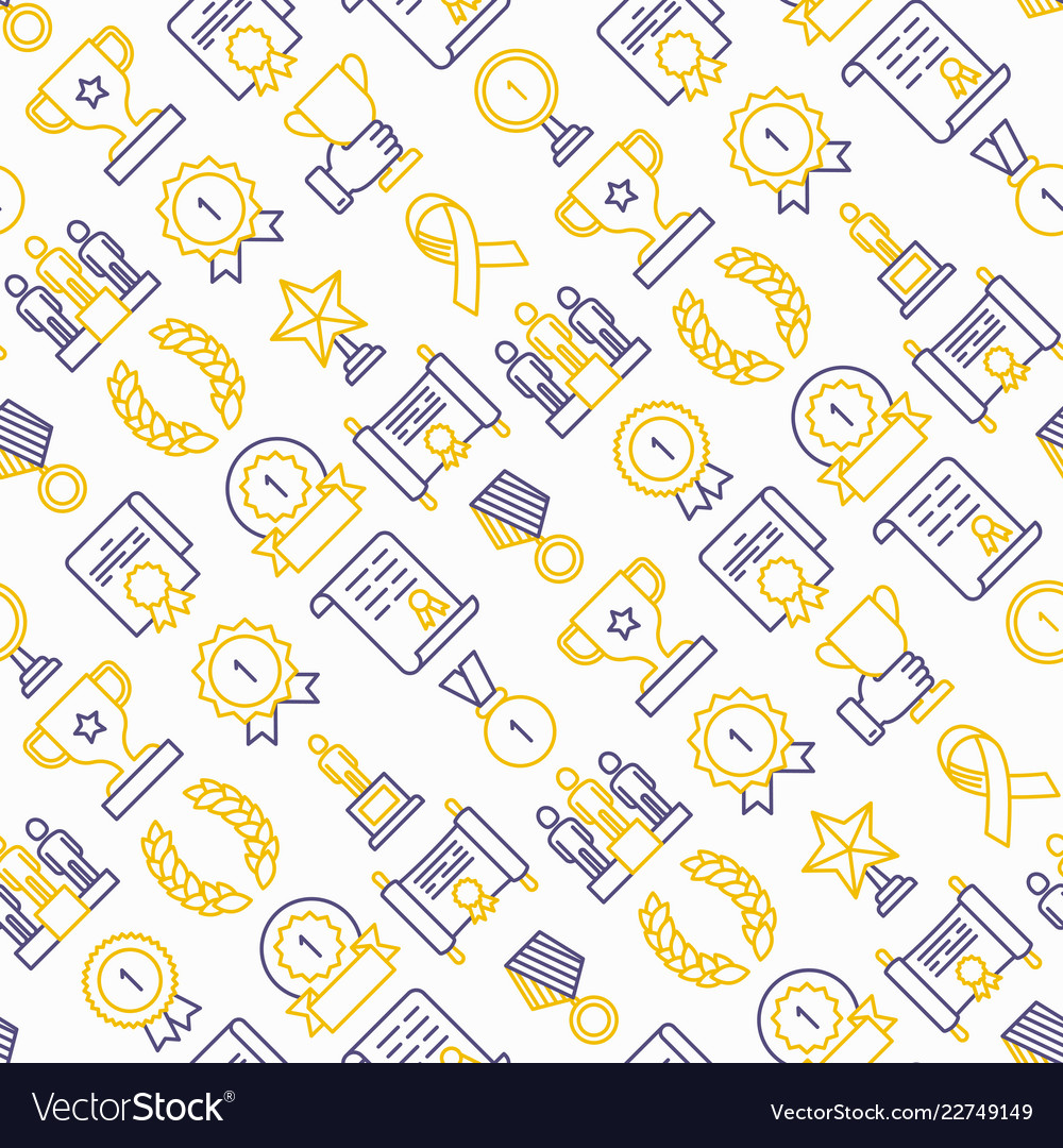 Awards seamless pattern with thin line icons
