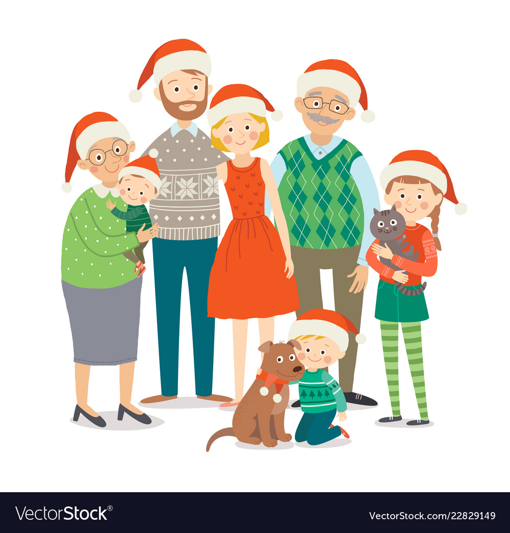 Big happy family in christmas hats with pets