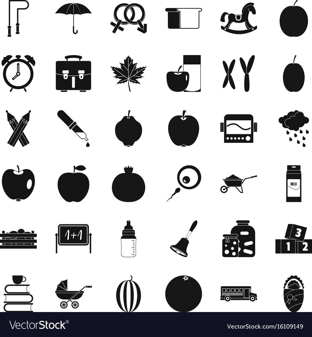 Children school icons set simple style