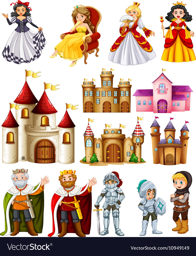 Different fairytales characters and palace
