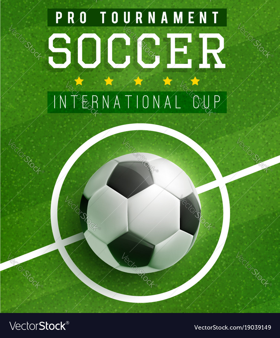 football match poster template with soccer ball vector image