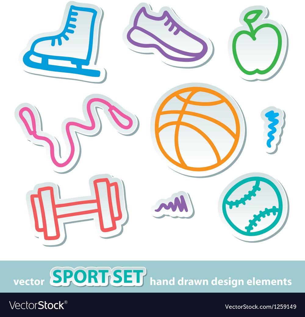 Hand drawn sport stickers