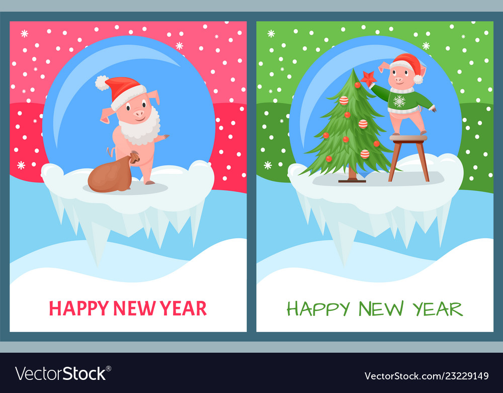 Happy new year pig decorating christmas tree