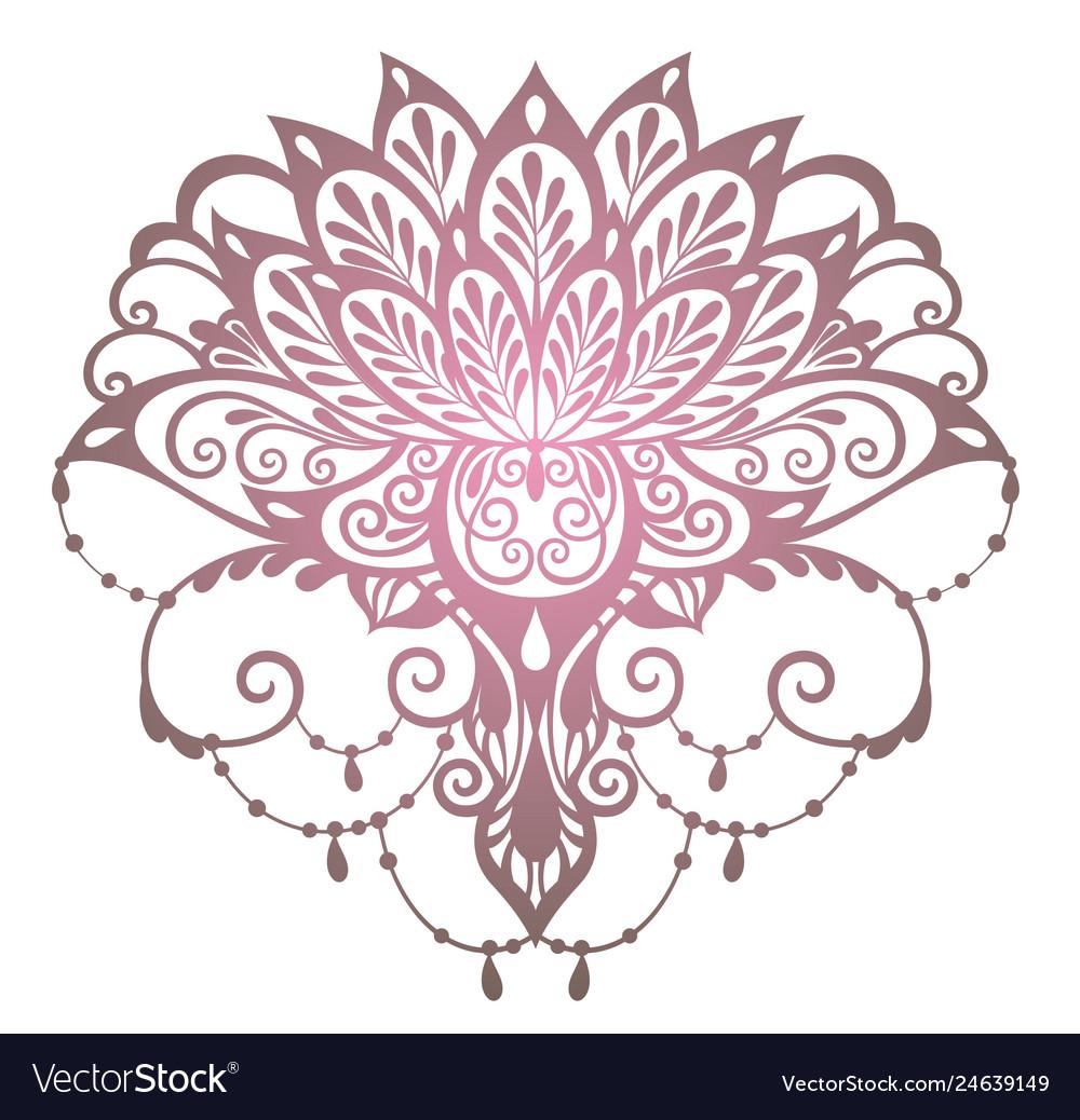 Mehndi Lotus Flower Royalty Free Vector Image Vectorstock