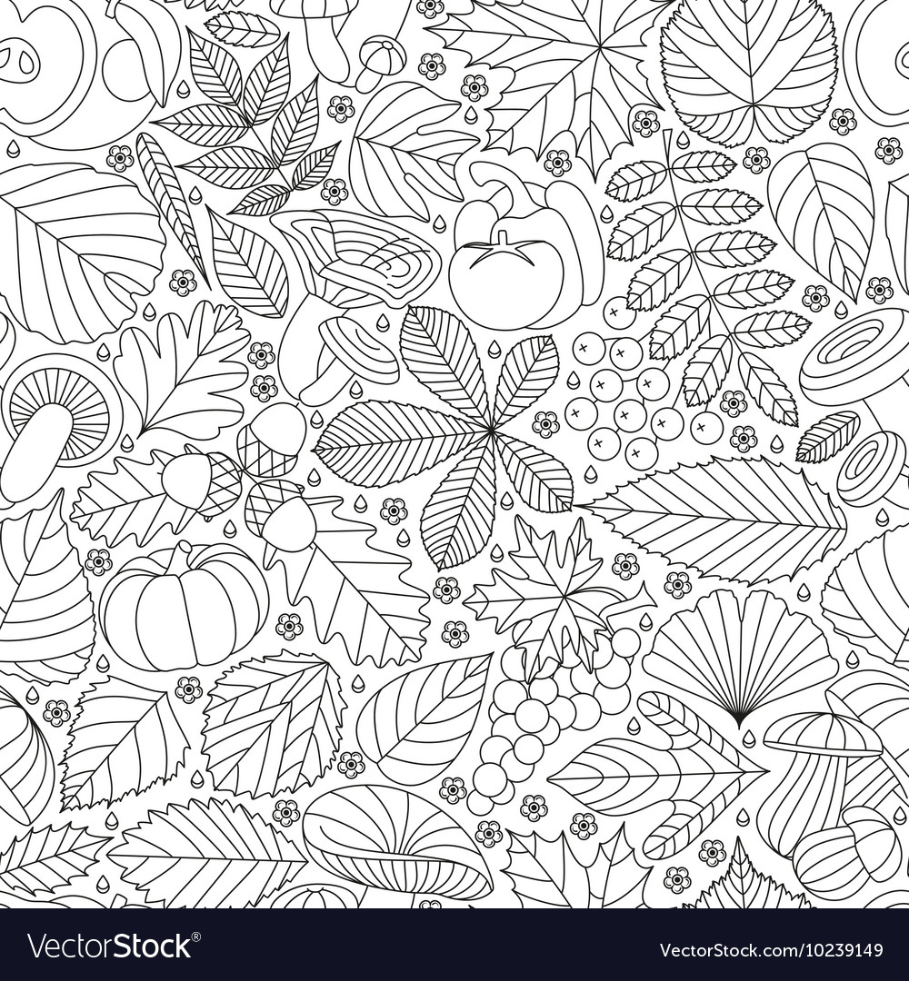 Seamless pattern with tree leaves
