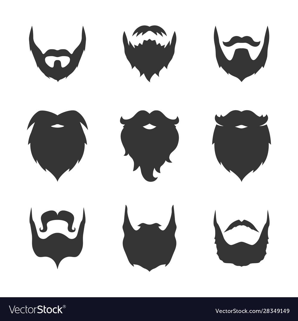 Set man beard silhouette