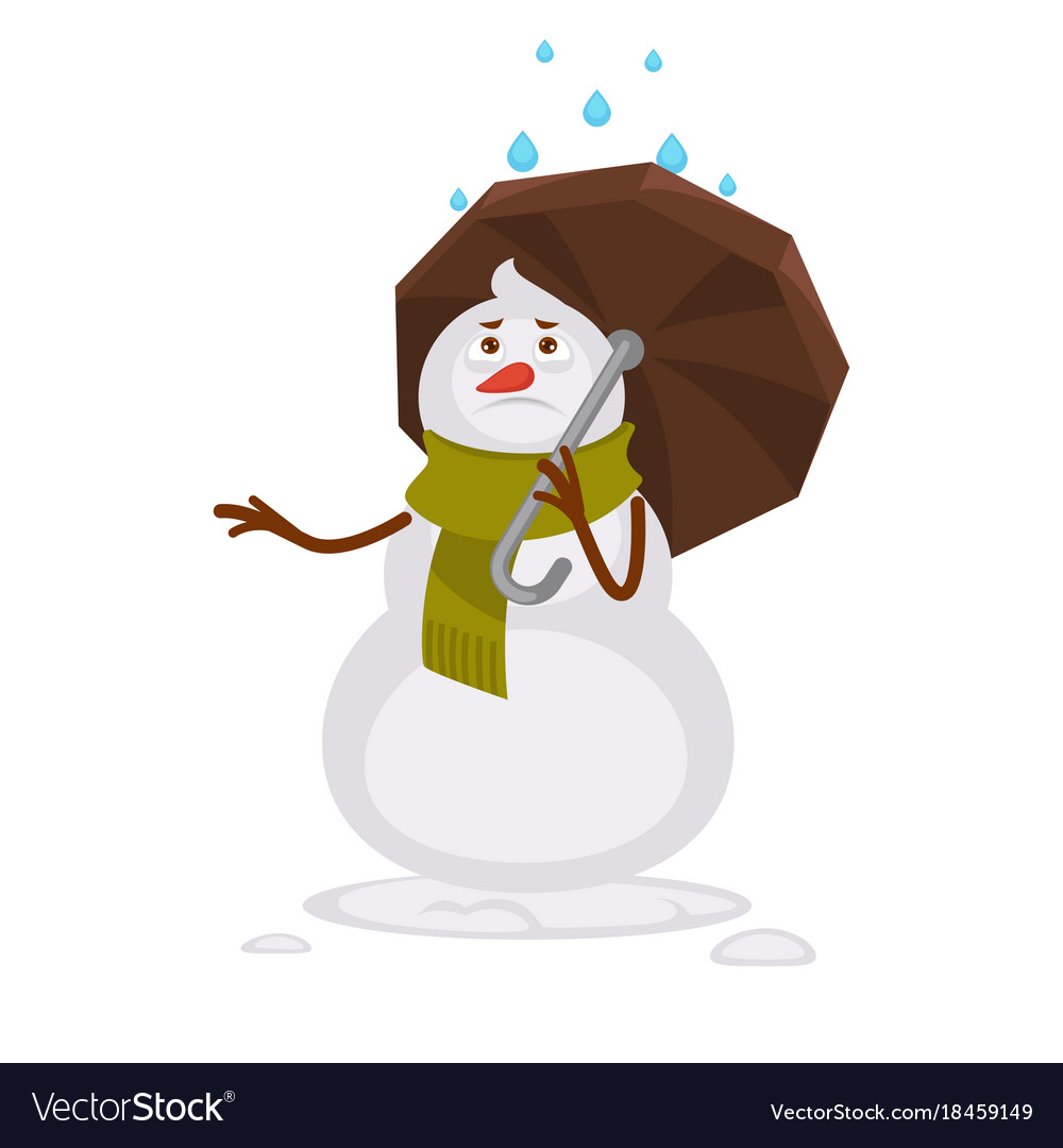 Snowman in warm scarf covers with umbrella from