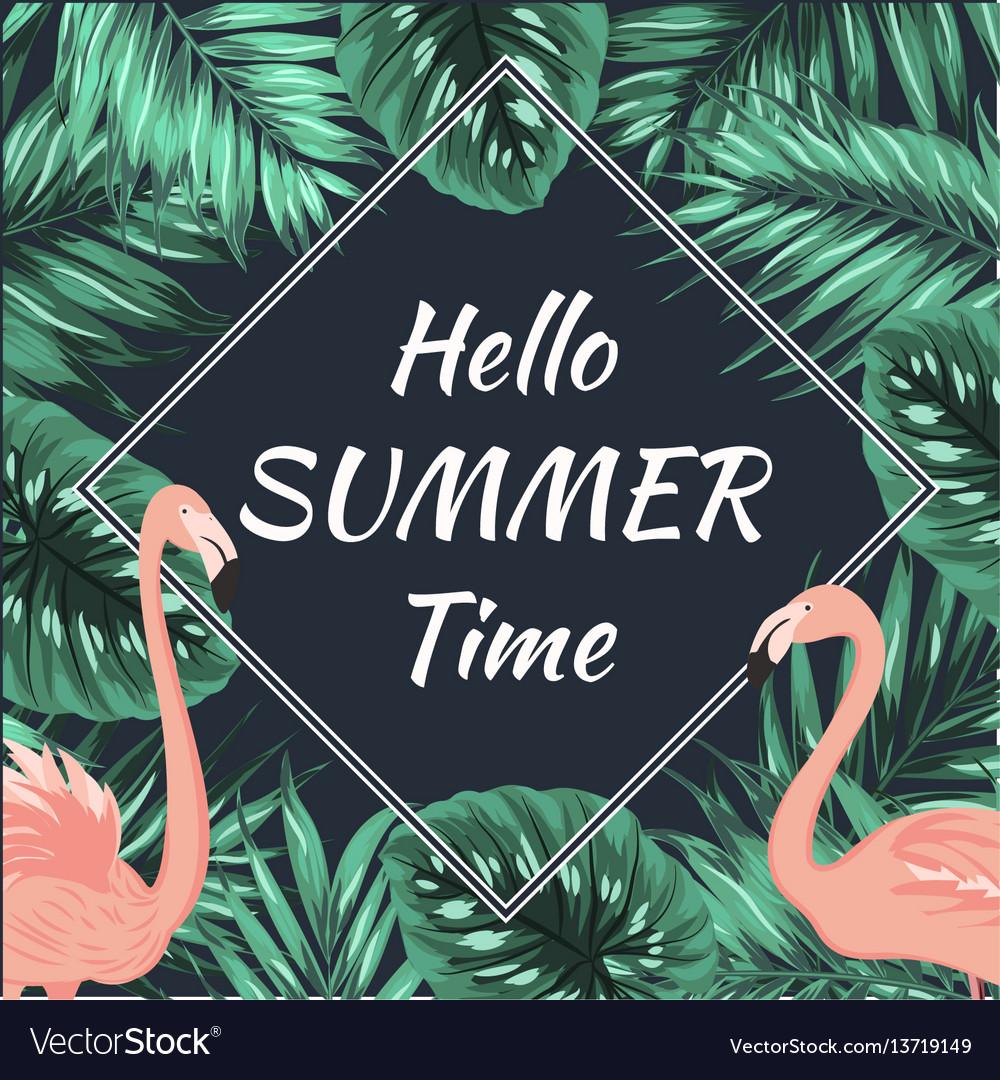 Summer promo sale banner flamingo palm leaves