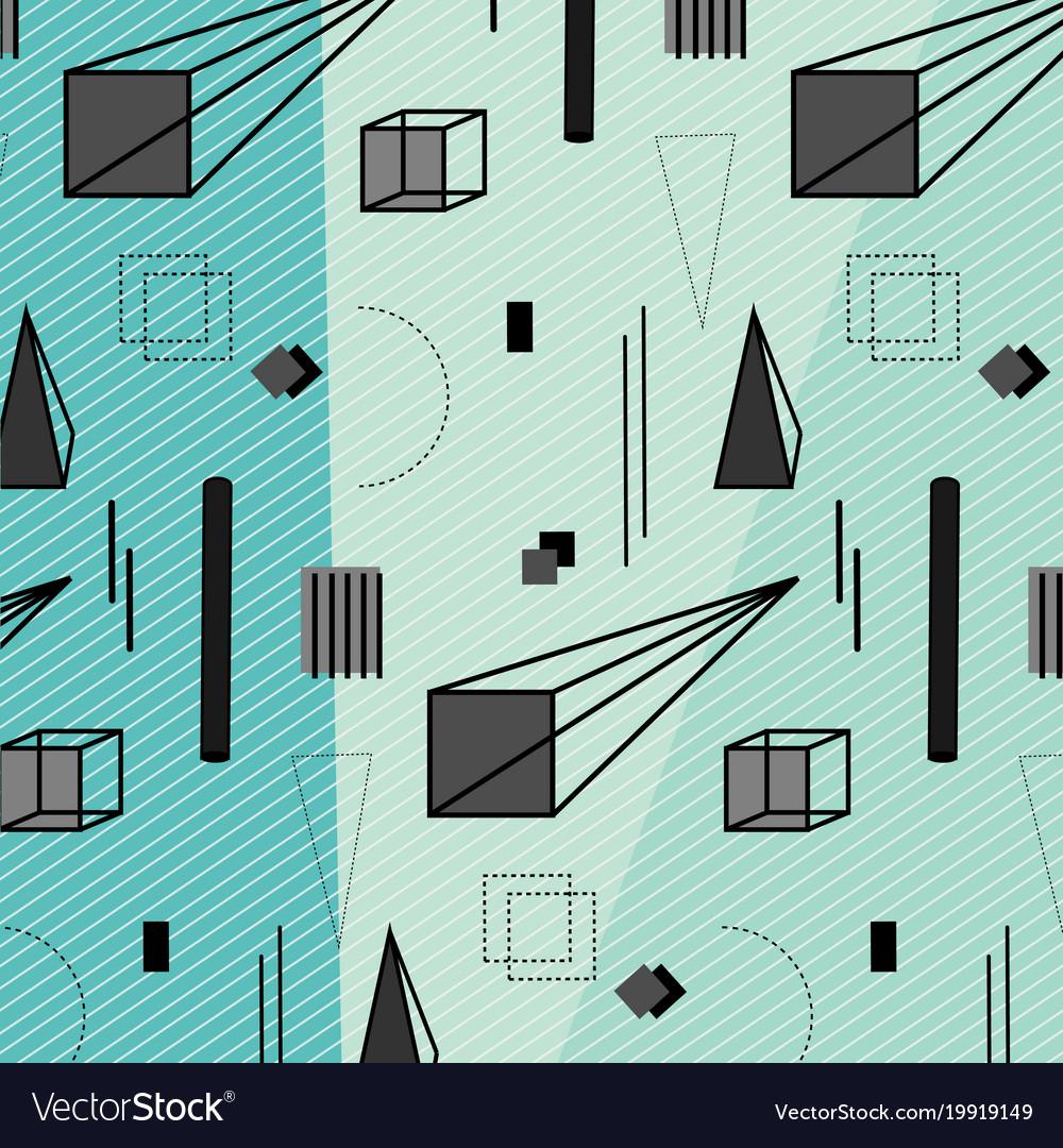 Trendy geometric elements memphis pattern