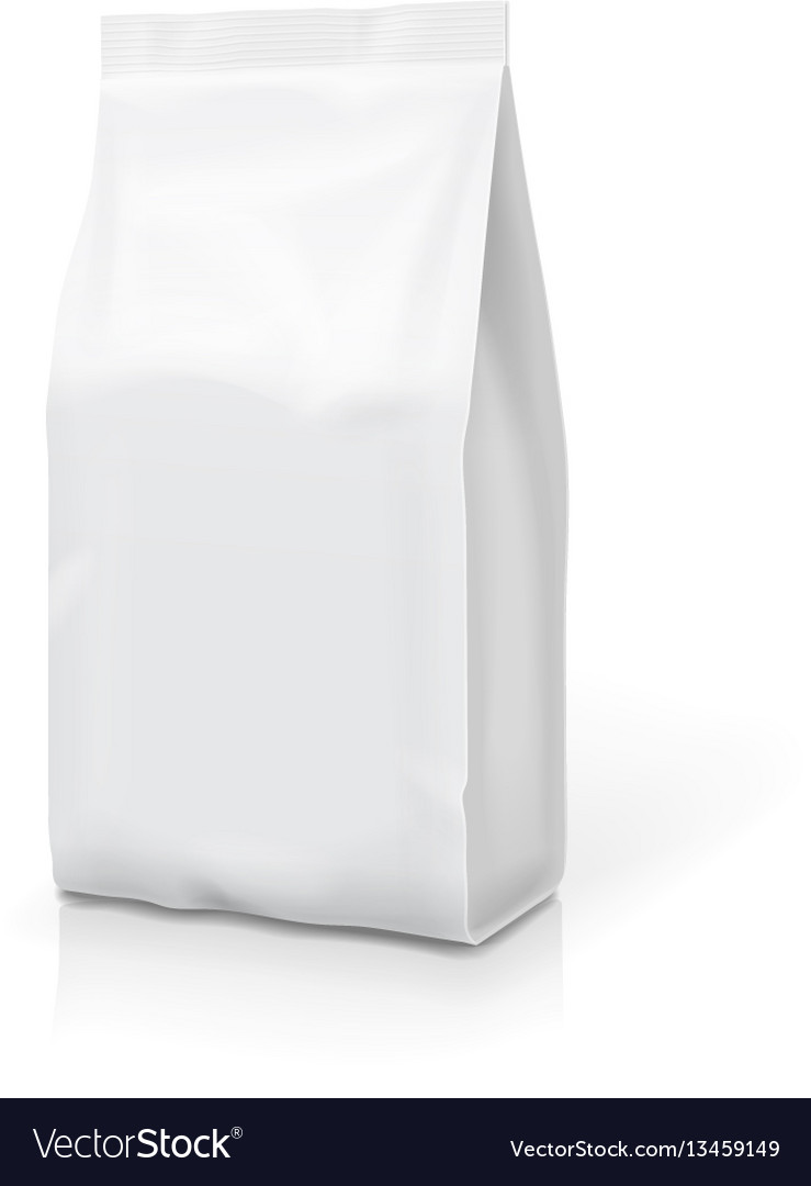 White foil or paper food stand up snack bag