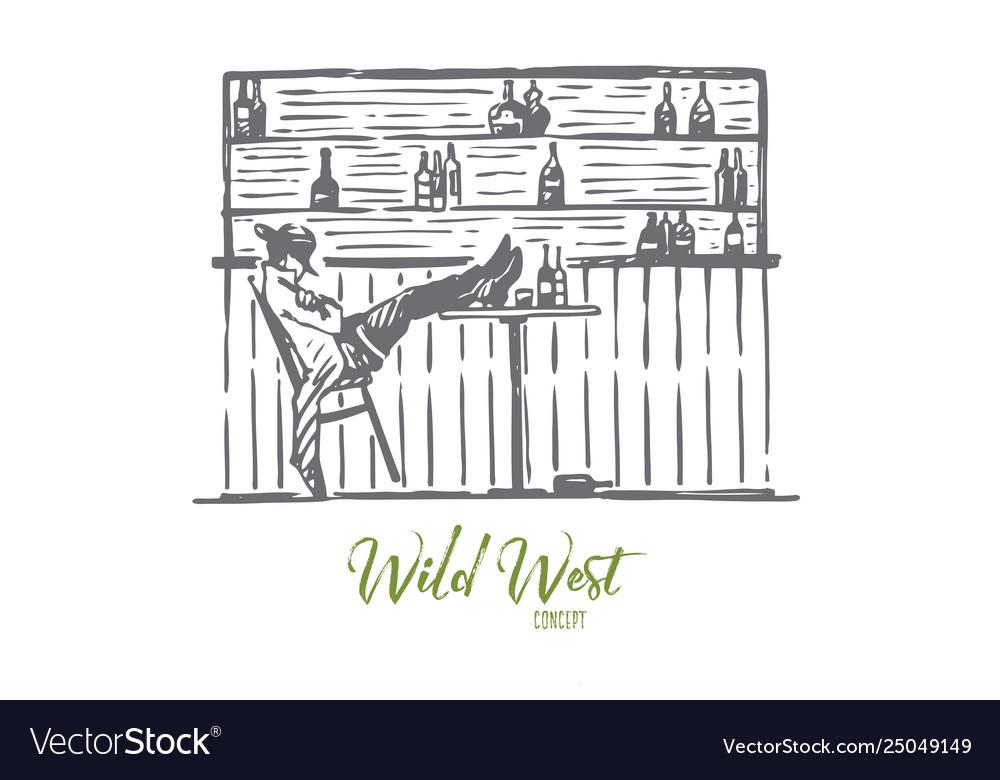 Wild west cowboy bar relax western