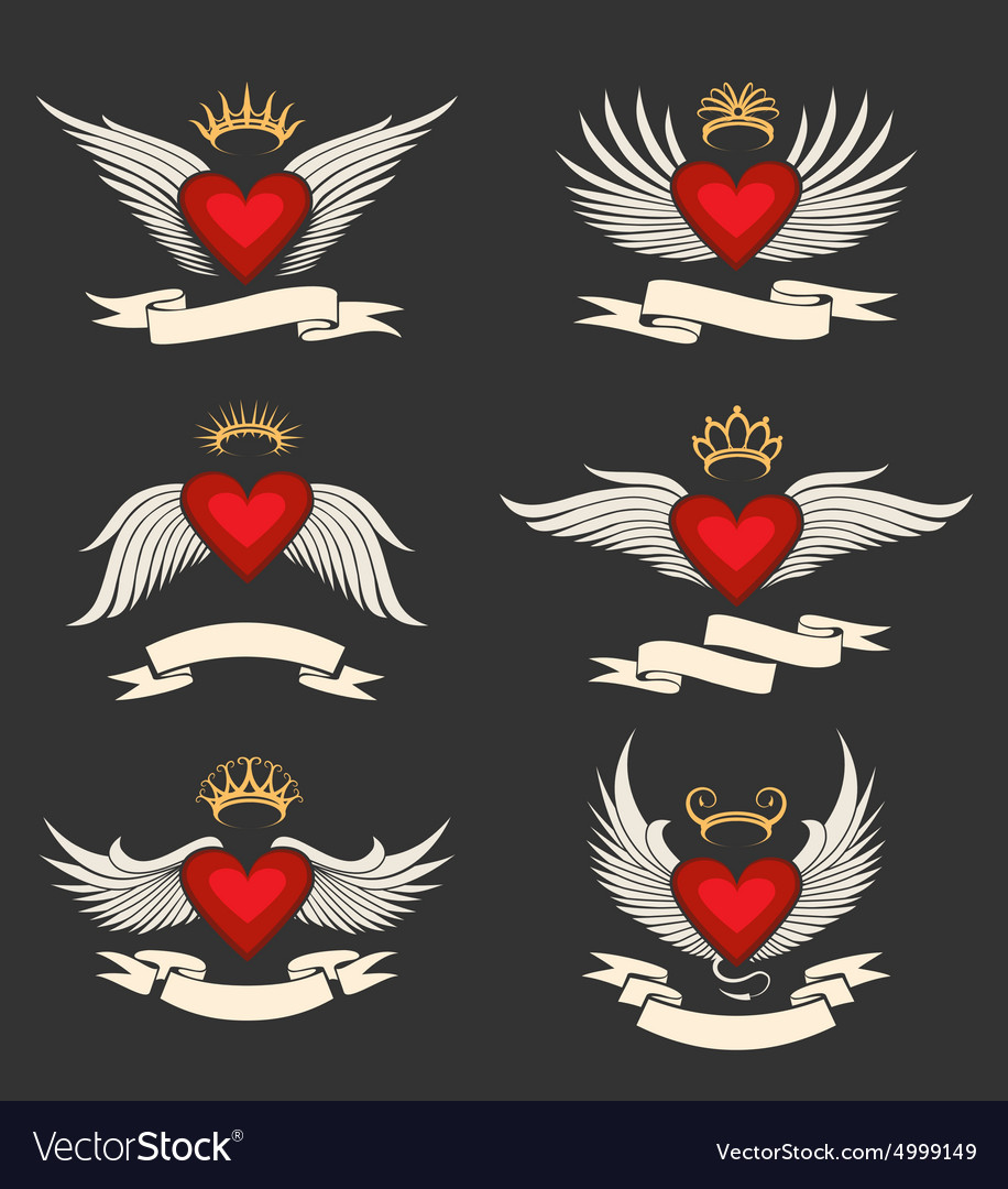 Winged Heart Emblem Set vector image