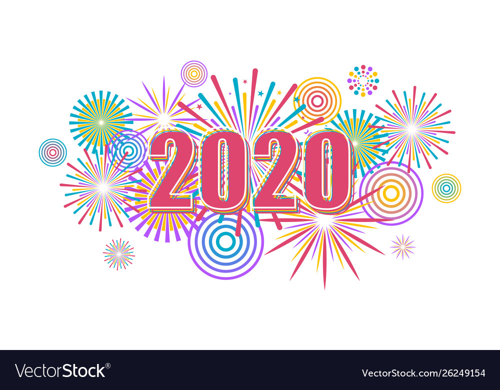 2020 new year banner with fireworks