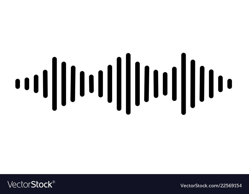 Audio signal icon on white background flat style