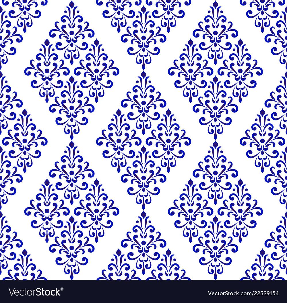 Blue and white pattern damask style