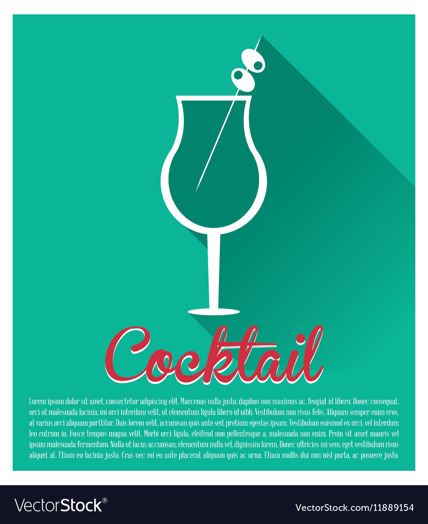 cocktail card glass and olive with shadow vector image