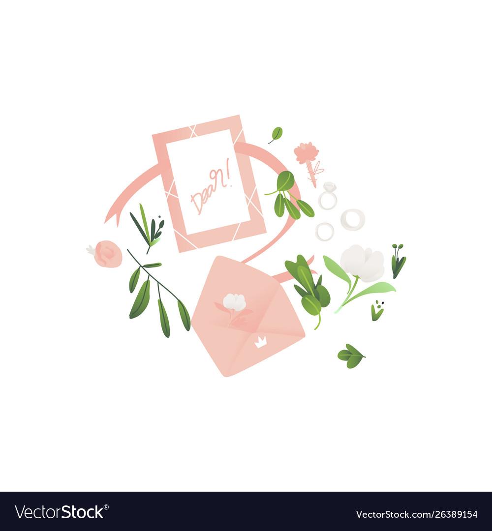 Flat Envelope With Wedding Invitation Card