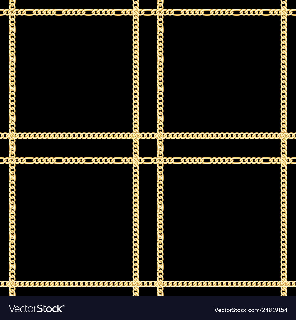 Golden chains check seamless pattern on