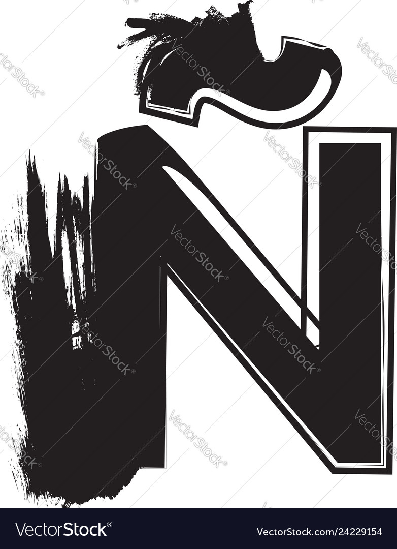 Grunge font letter n