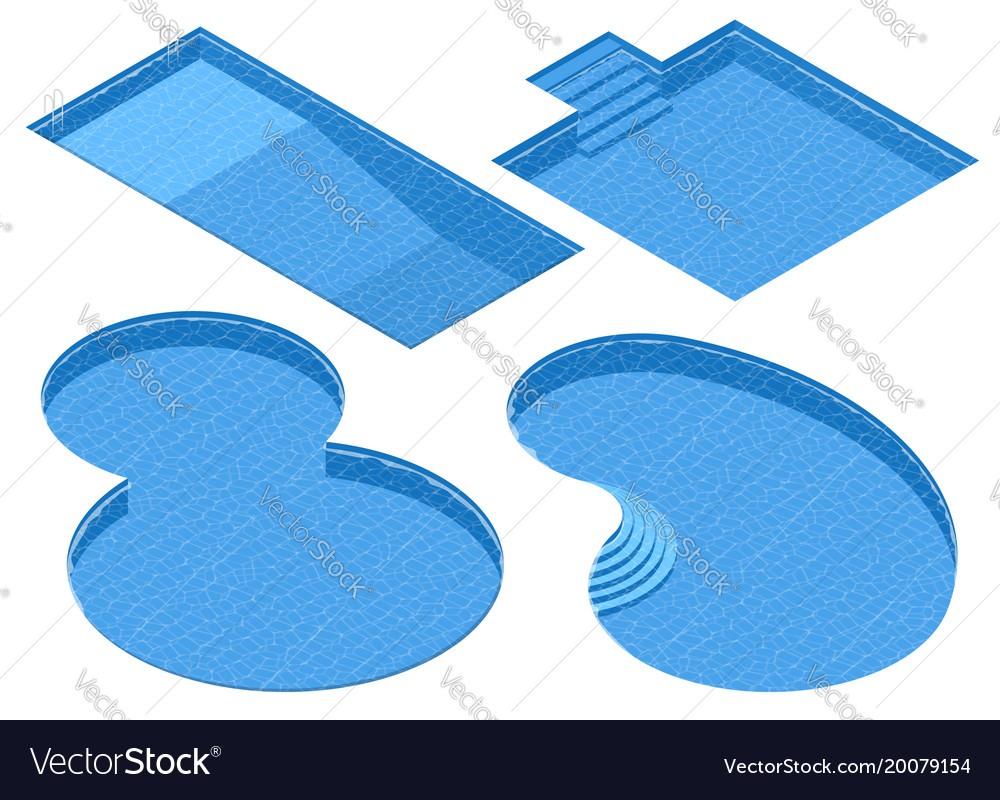 Isometric set different forms swimming pools