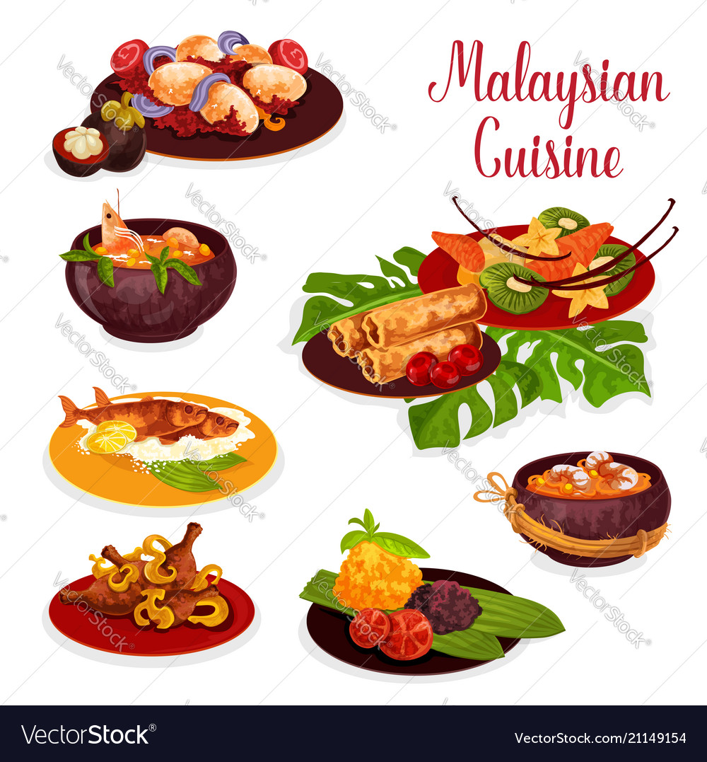 Malaysian cuisine icon with exotic dinner dish