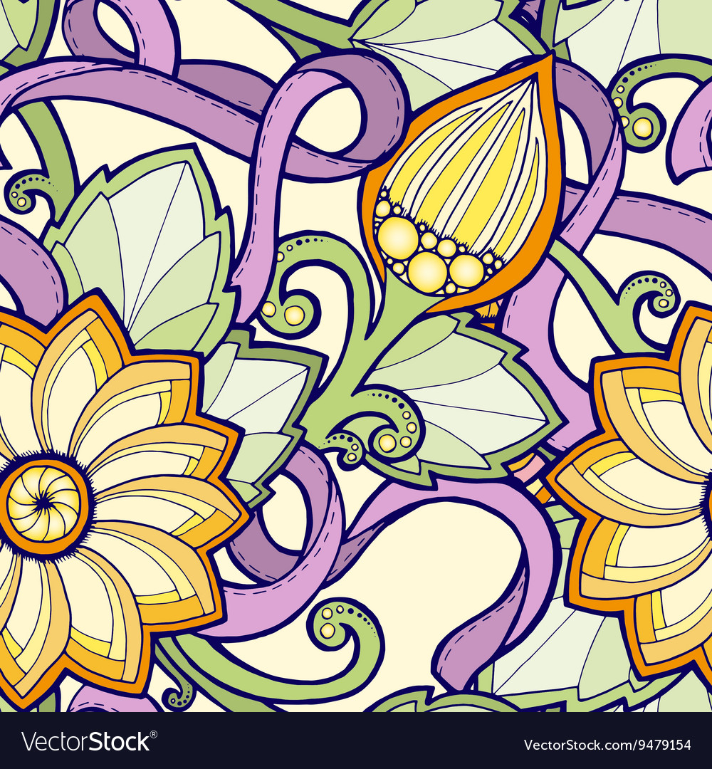 Seamless pattern with stylized flowers Ornate