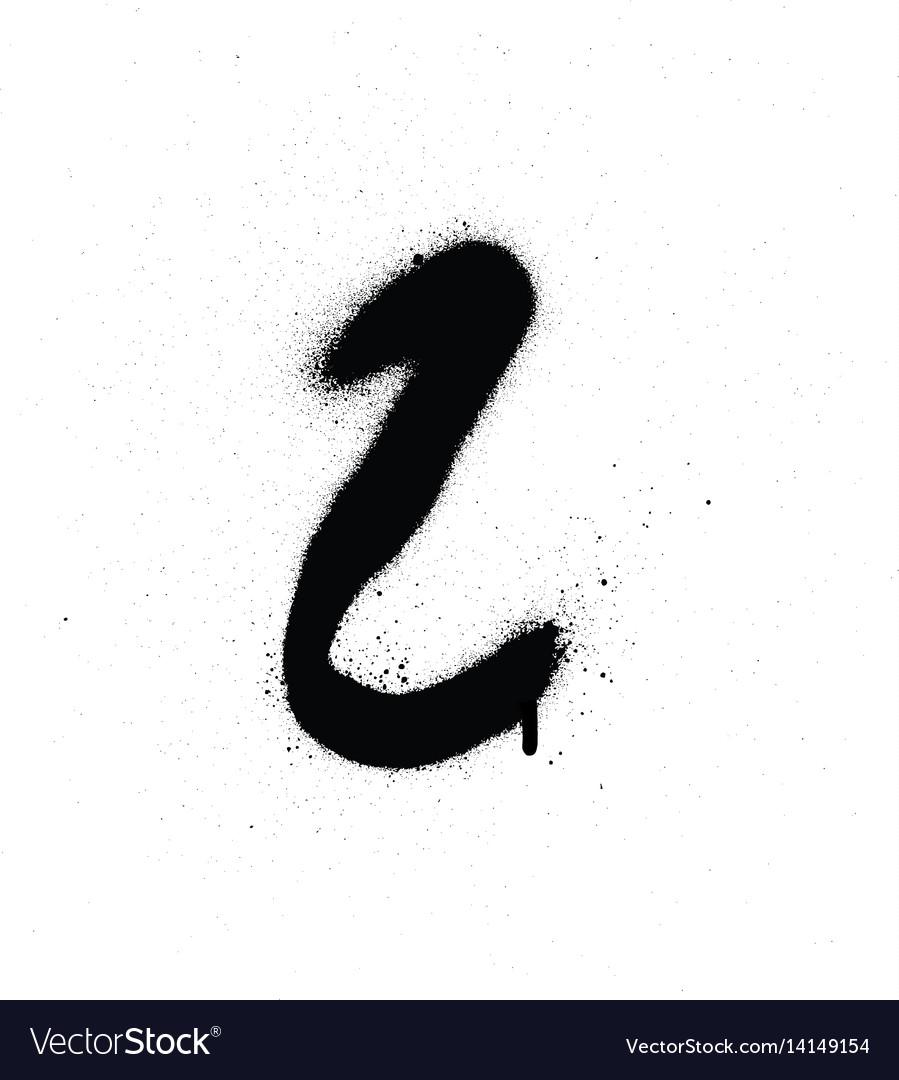 Sprayed l font graffiti with leak in black vector image
