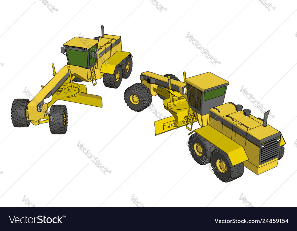 Yellow industrial grader on white background