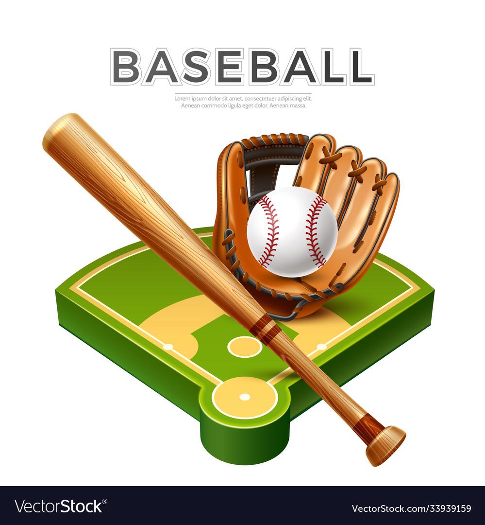 Baseball championship flyer 3d bat glove