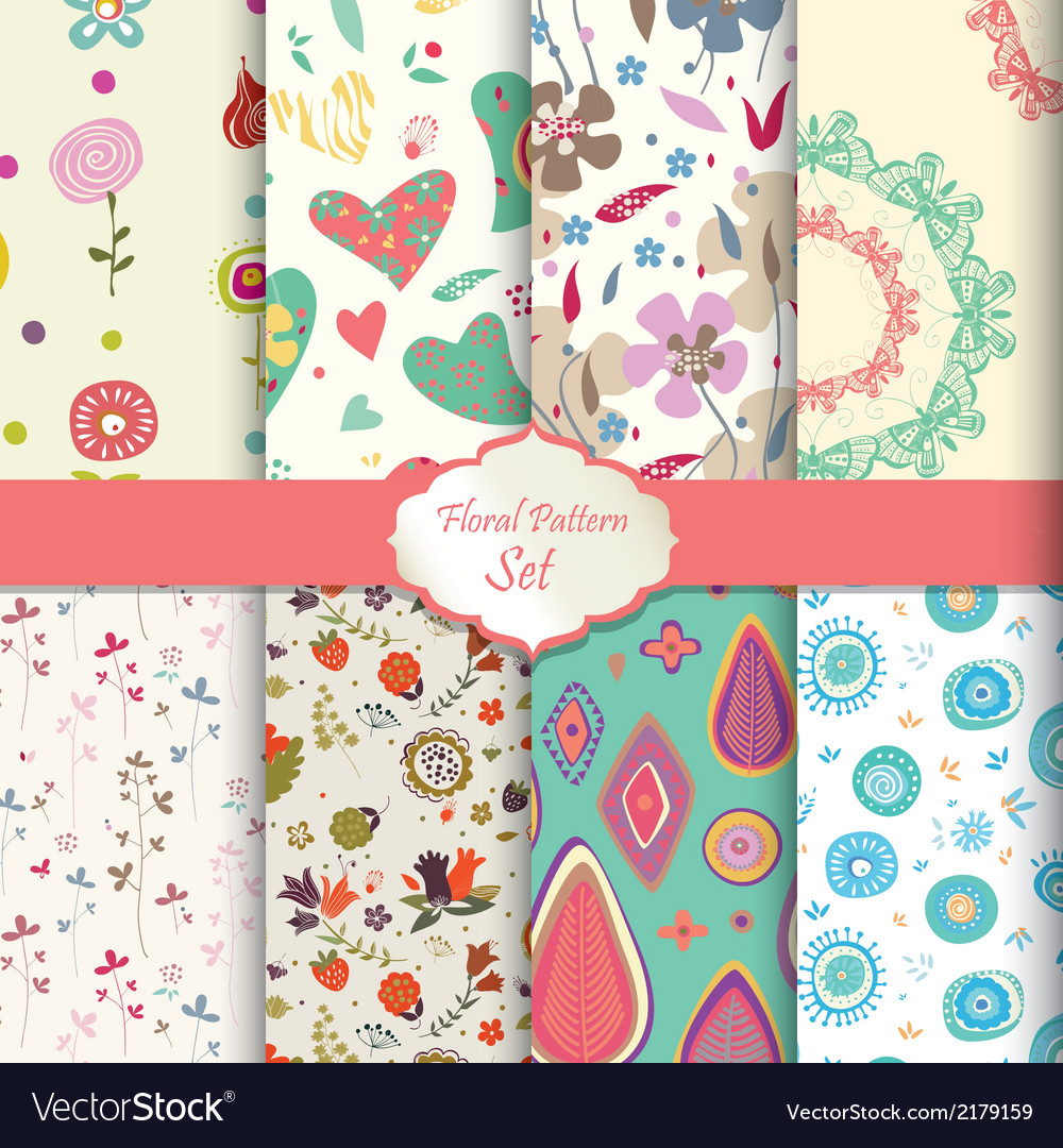 Floral pattern set seamless background