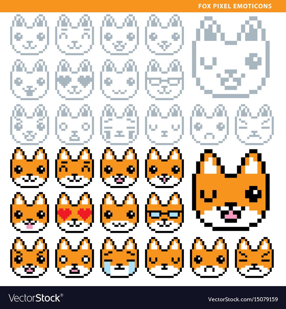 Fox pixel emoticons