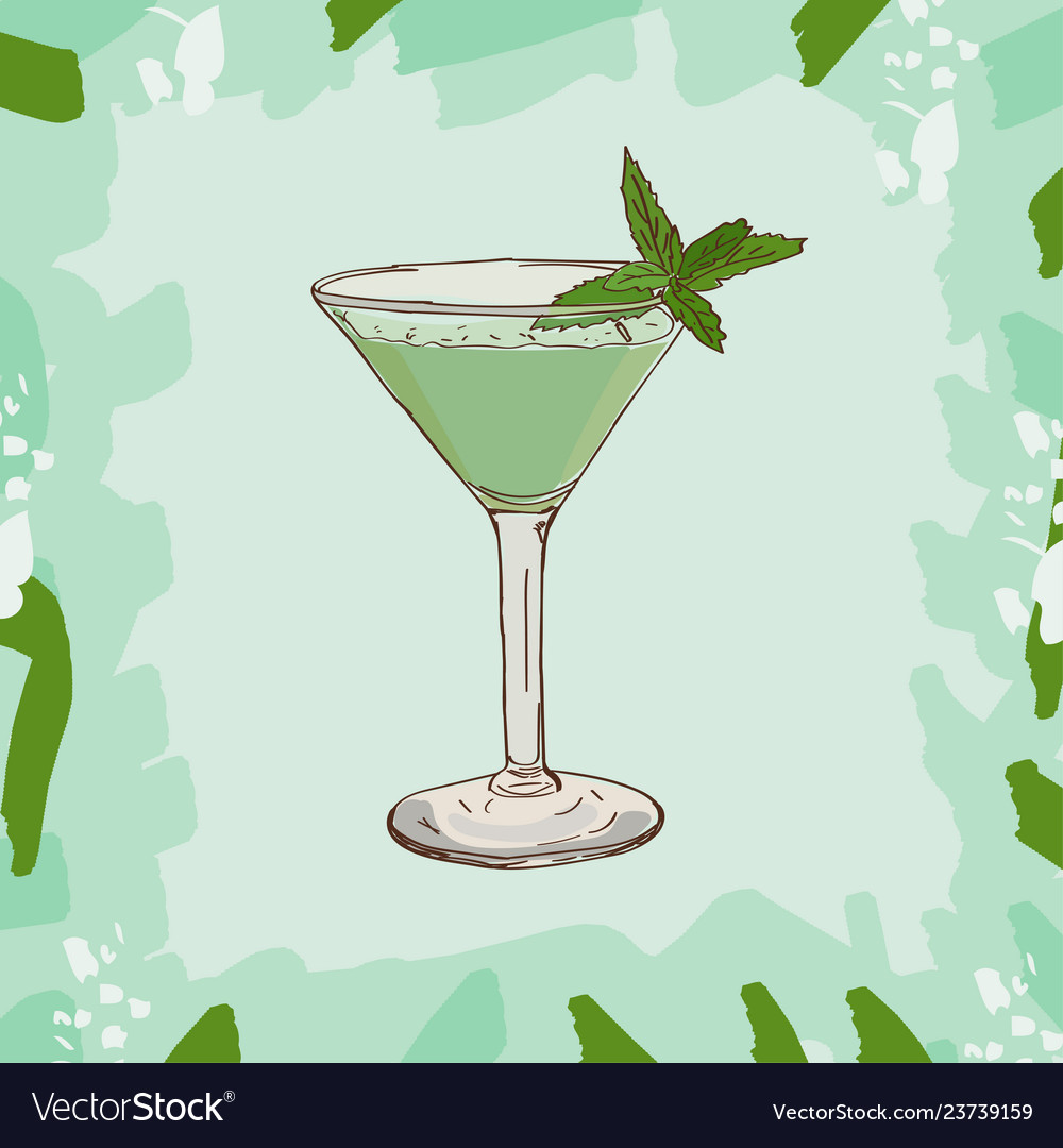 Grasshopper Cocktail Alcoholic Classic Bar Drink Vector Image