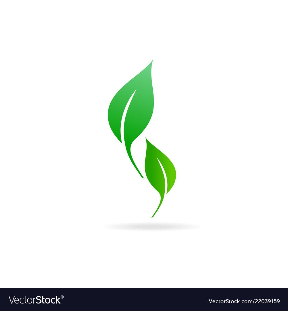 Green leaf icon ecology icon