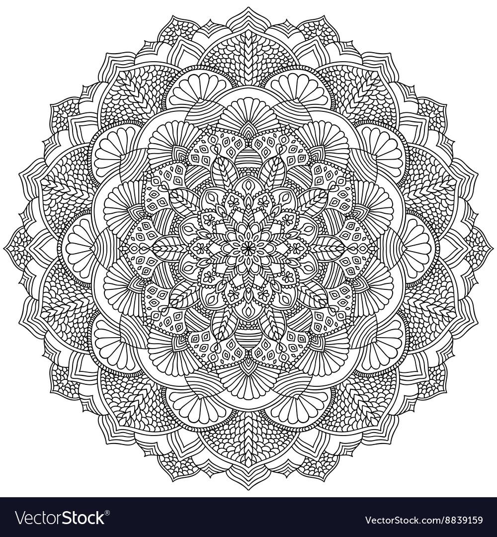 Intricate Black Mandala For Coloring Royalty Free Vector