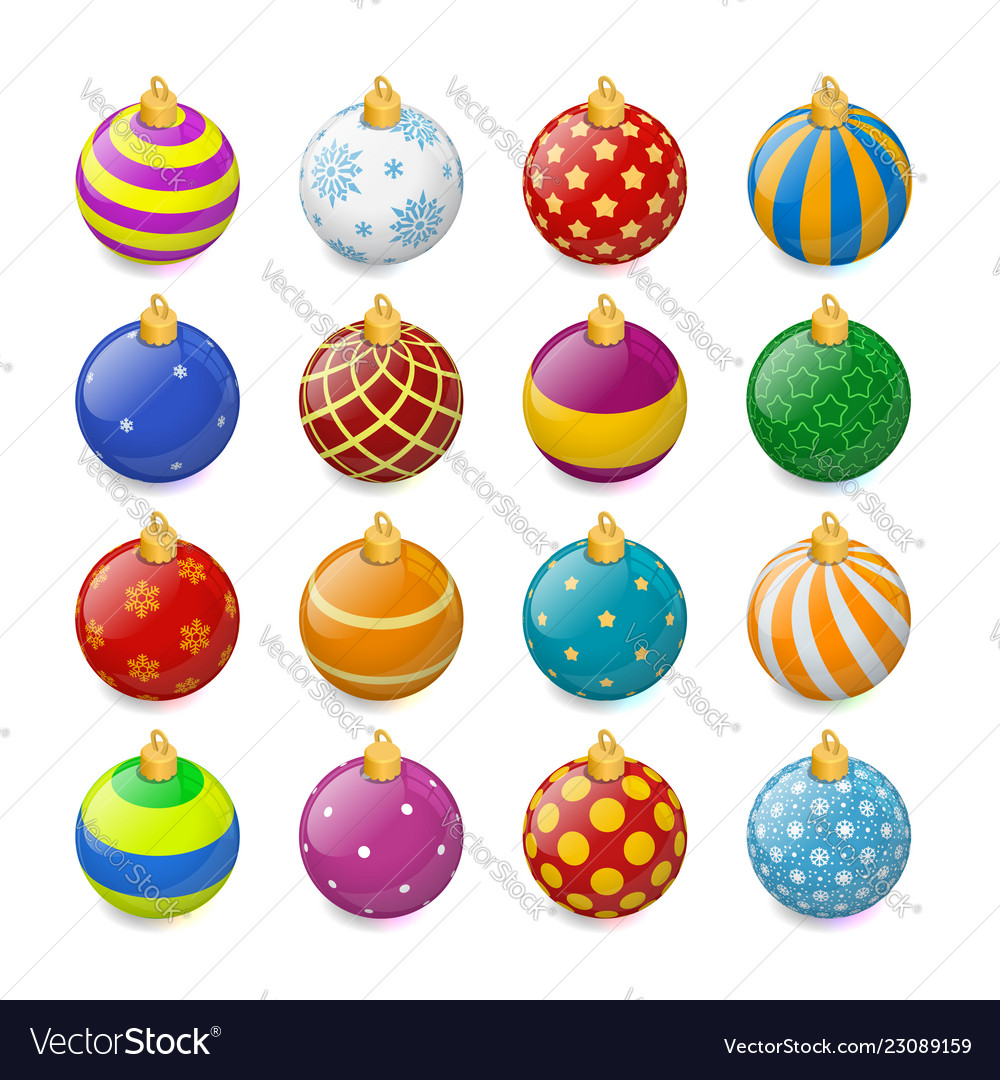 Isometric christmas balls set isolated on white