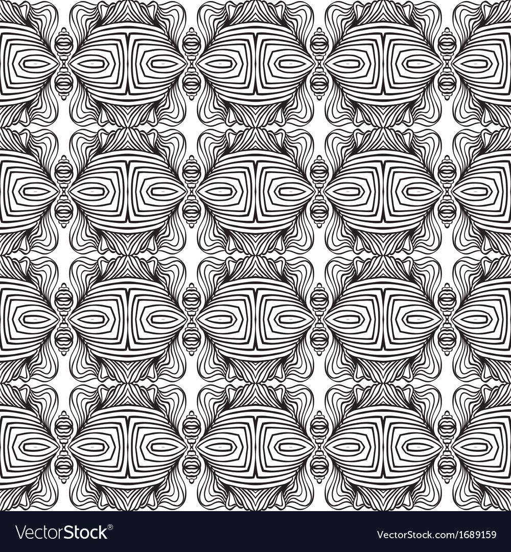 Linear Art Deco Black And White Pattern Vector Image