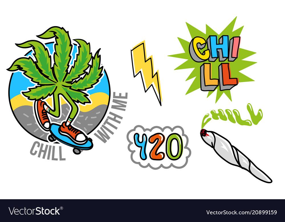 Marijuana set sticker