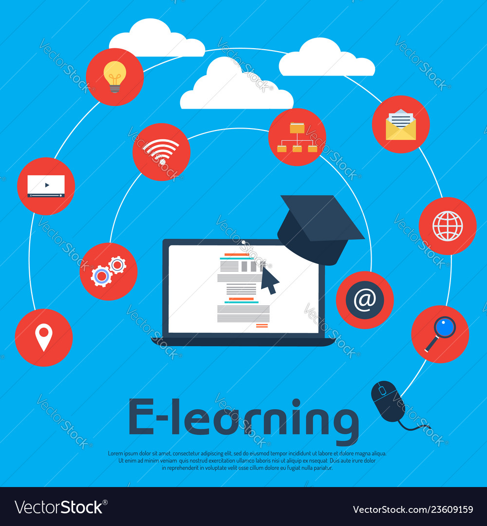 Online education e-learning school concept
