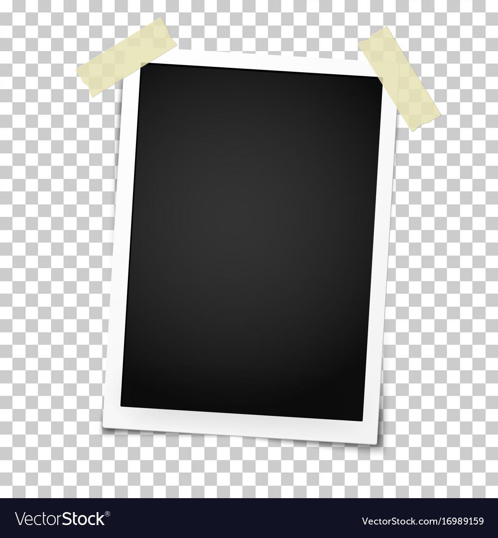 Realistic photo frame on sticky tape