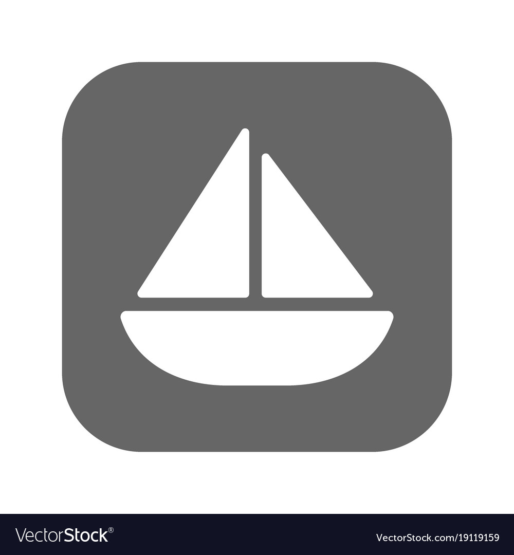 Sailing yacht flat icon with