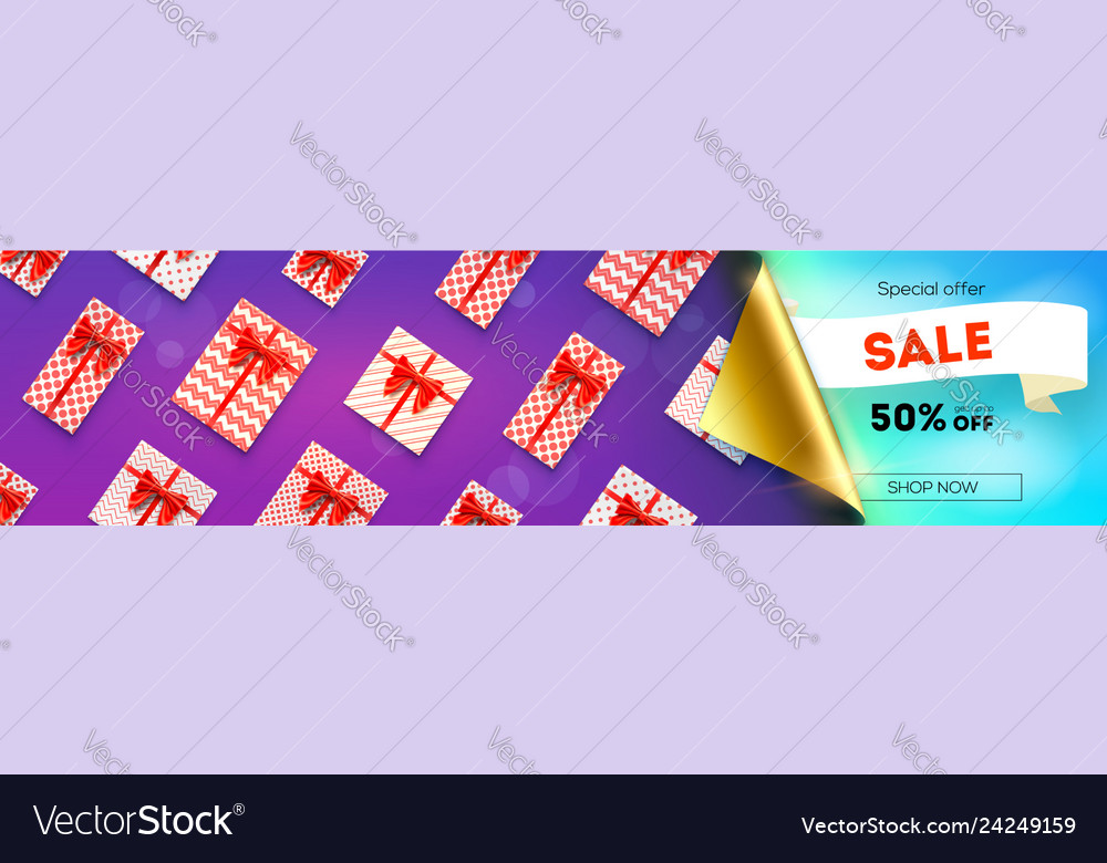 Sale fifty percent discount opened bended corner